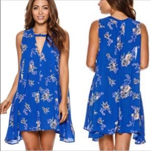 NWT Free People Floral Tree Swing Tunic Dress Blue
